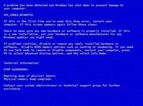 Ошибка 0x00000001 APC_INDEX_MISMATCH и ее решение