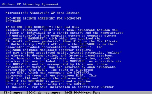 Windows XP Licensing Agreement